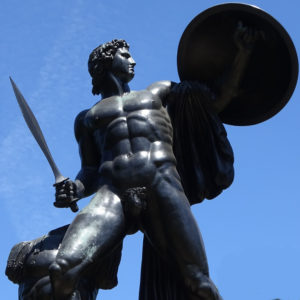Statue of Achilles with sword and shield
