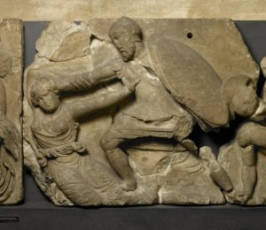 Frieze of warrior and woman