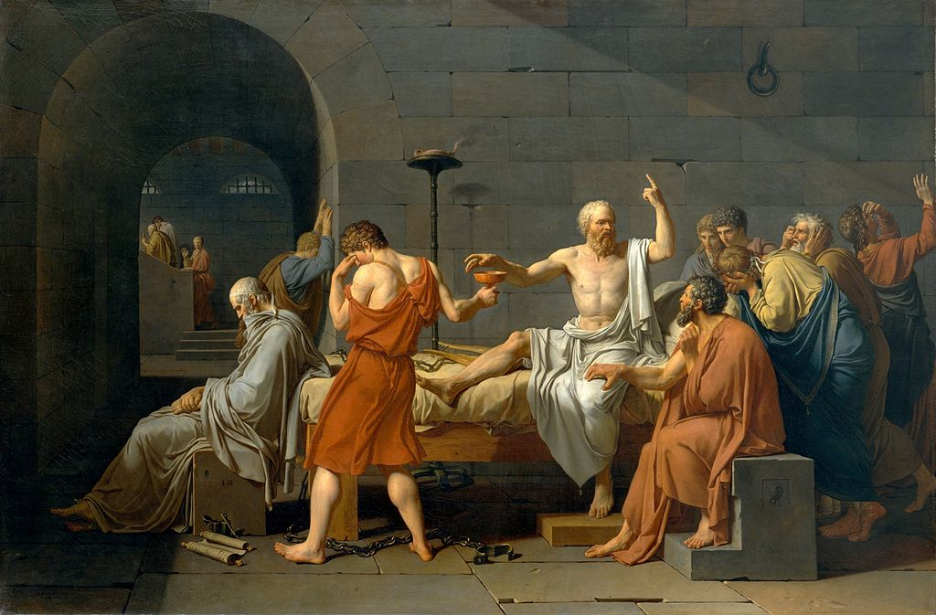 "Jacques-Louis David, ""The Death of Socrates""(1787), Public Domain, via Wikimedia Commons"