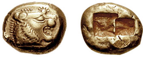 Coin depicting Lydian king