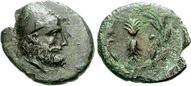Ithakan coin depicting Odysseus
