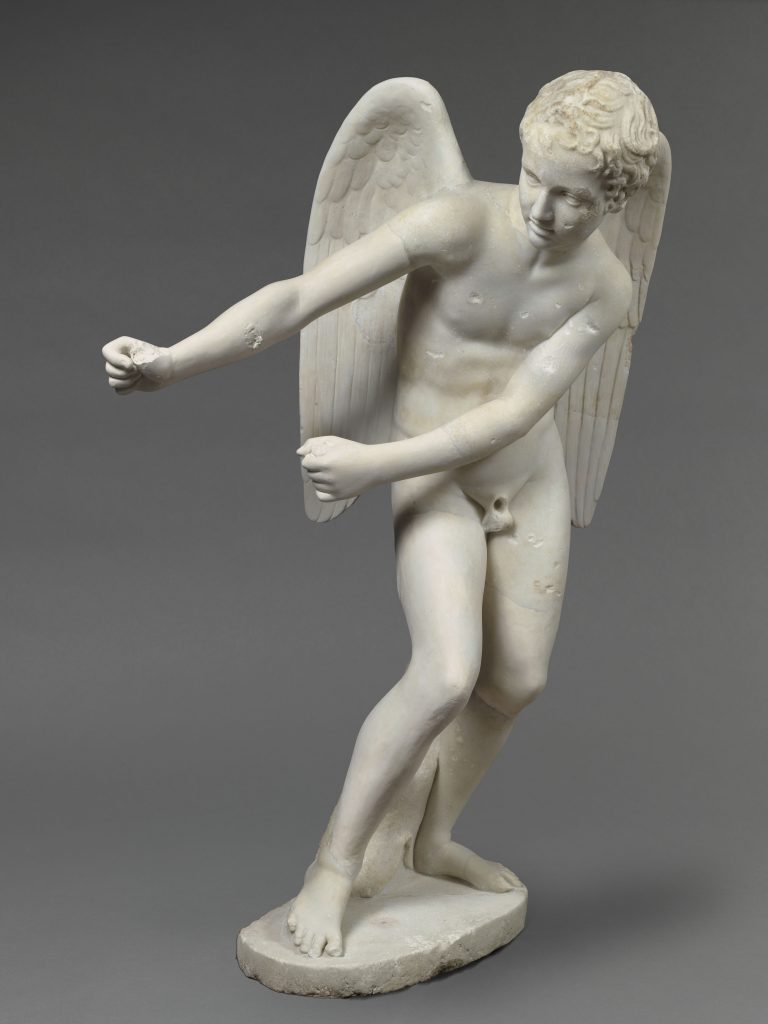Marble statue Eros stringing his bow