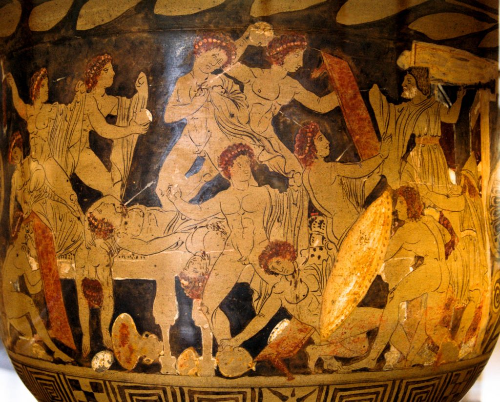 Vase painting of Odysseus and Telemachus slaying the suitors