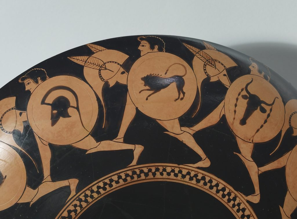 Kylix depicting running warriors