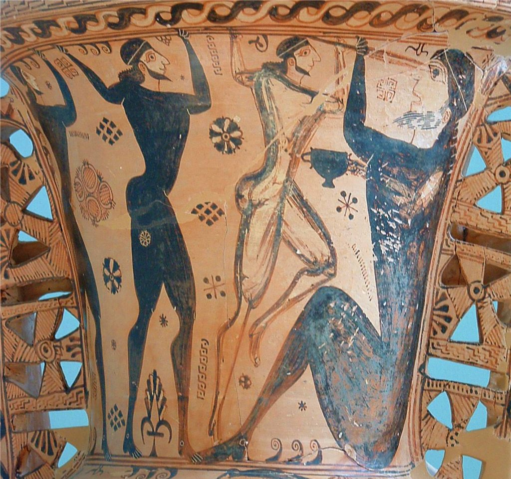 Amphora painting: Odysseus and his men blinding Polyphemus