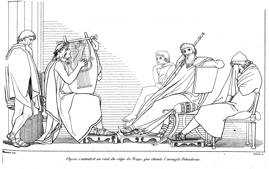 Flaxman: Odysseus listening to Demodokos