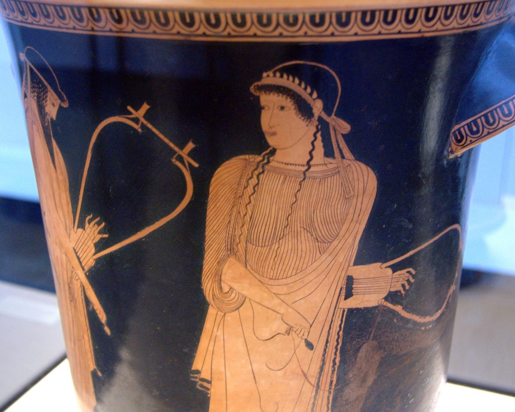 Vase depicting Sappho with stray tendrils of hair