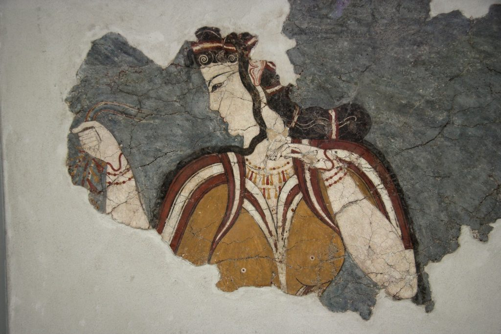 Fresco Mycenaean woman with long dark hair