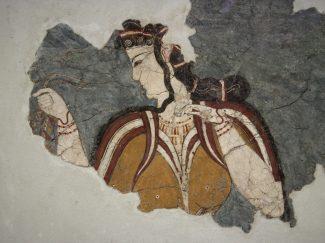 Fresco Mycenaean woman with long dark hair