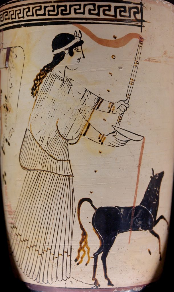 Vase painting: Artemis with long hair
