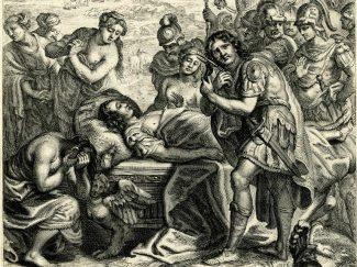 Achilles cutting his hair for Patroklos