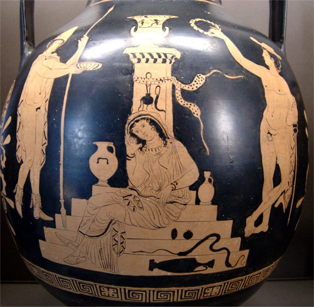 Vase painting: Orestes and Electra at the tomb