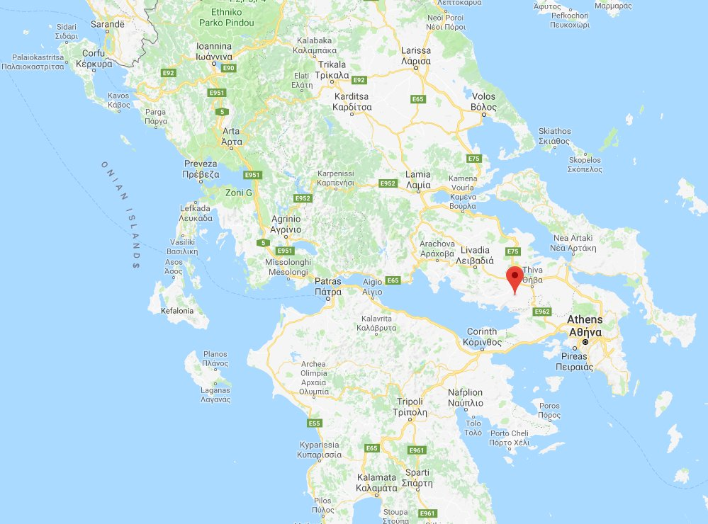 Map of Greece showing location of Leuctra