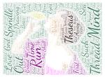 Wordcloud girl kissing bird