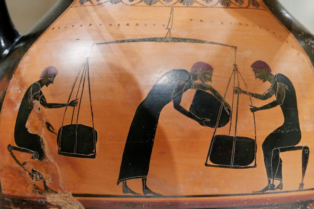 Greek vase: weighing merchandise