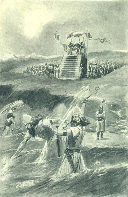 Illustration: Xerxes lashing the sea