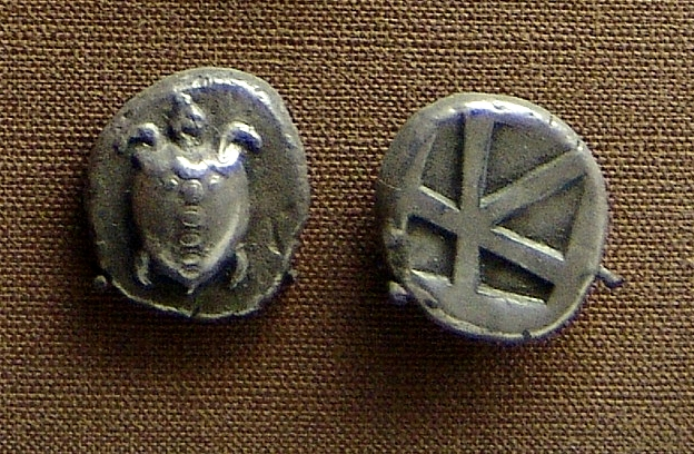 Coin showing turtle