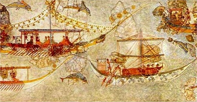 Frieze showing decorated curved ships