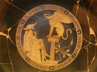 Oedipus and the Sphinx, vase painting