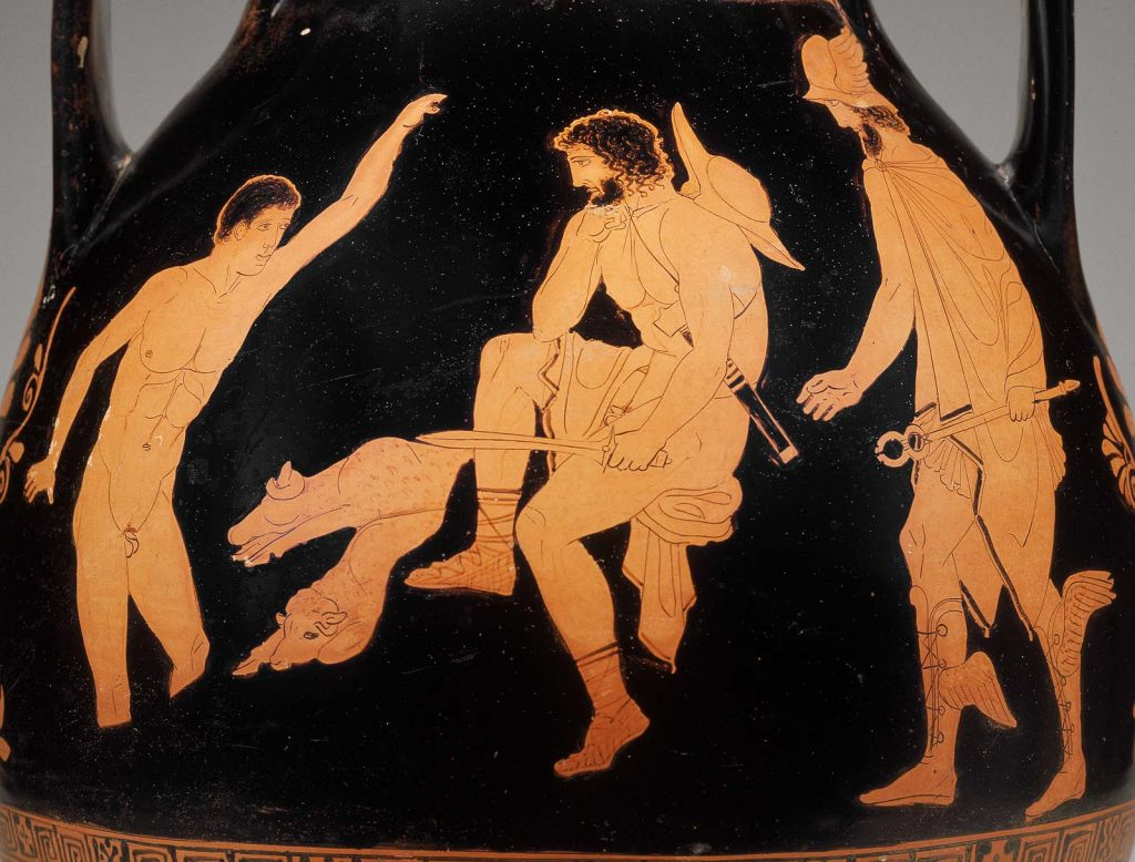Odysseus with Elpenor and Hermes