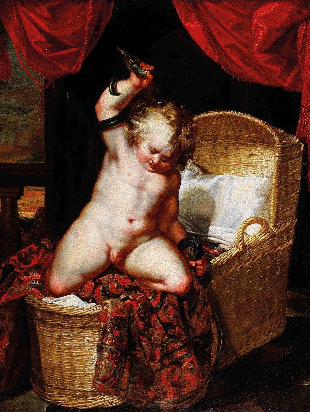 Baby Herakles killing a snake