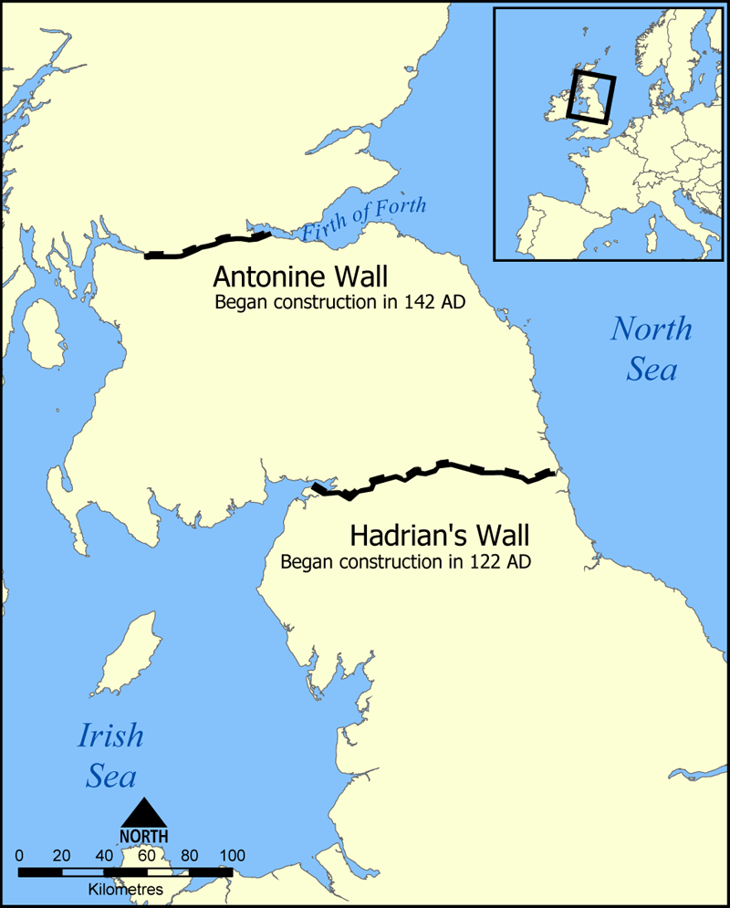 Map showing location of Hadrian's Wall and the Antonine Wall