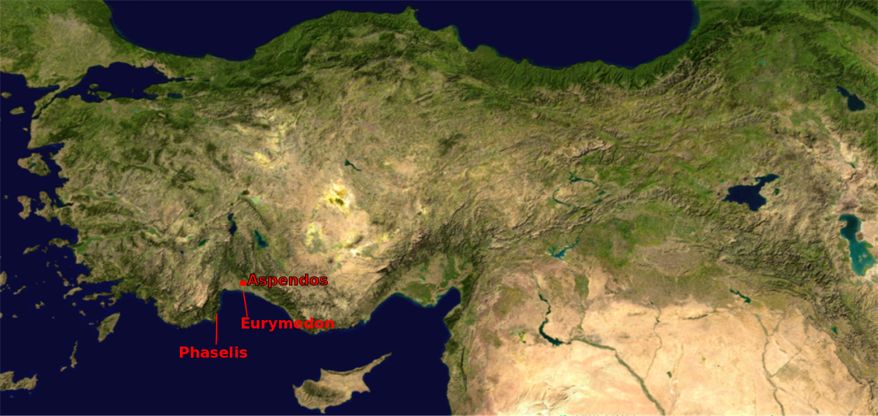 Location map, Asia Minor, showing Phaselis, Eurymedon and Aspendos