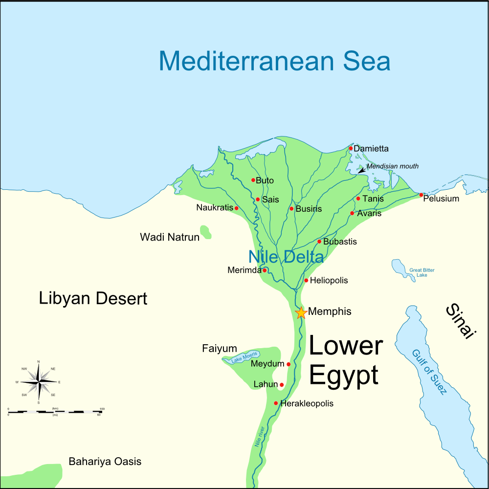 Map: Lower Egypt with locations of Delian League campaign