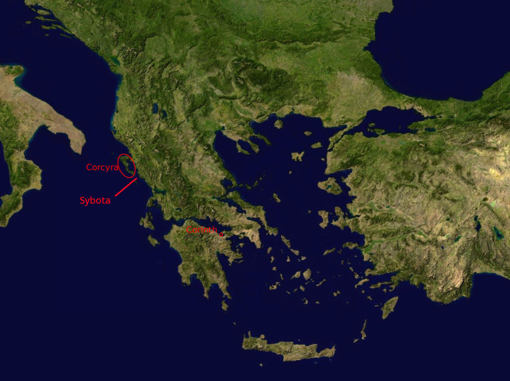 Map of Greece showing locations