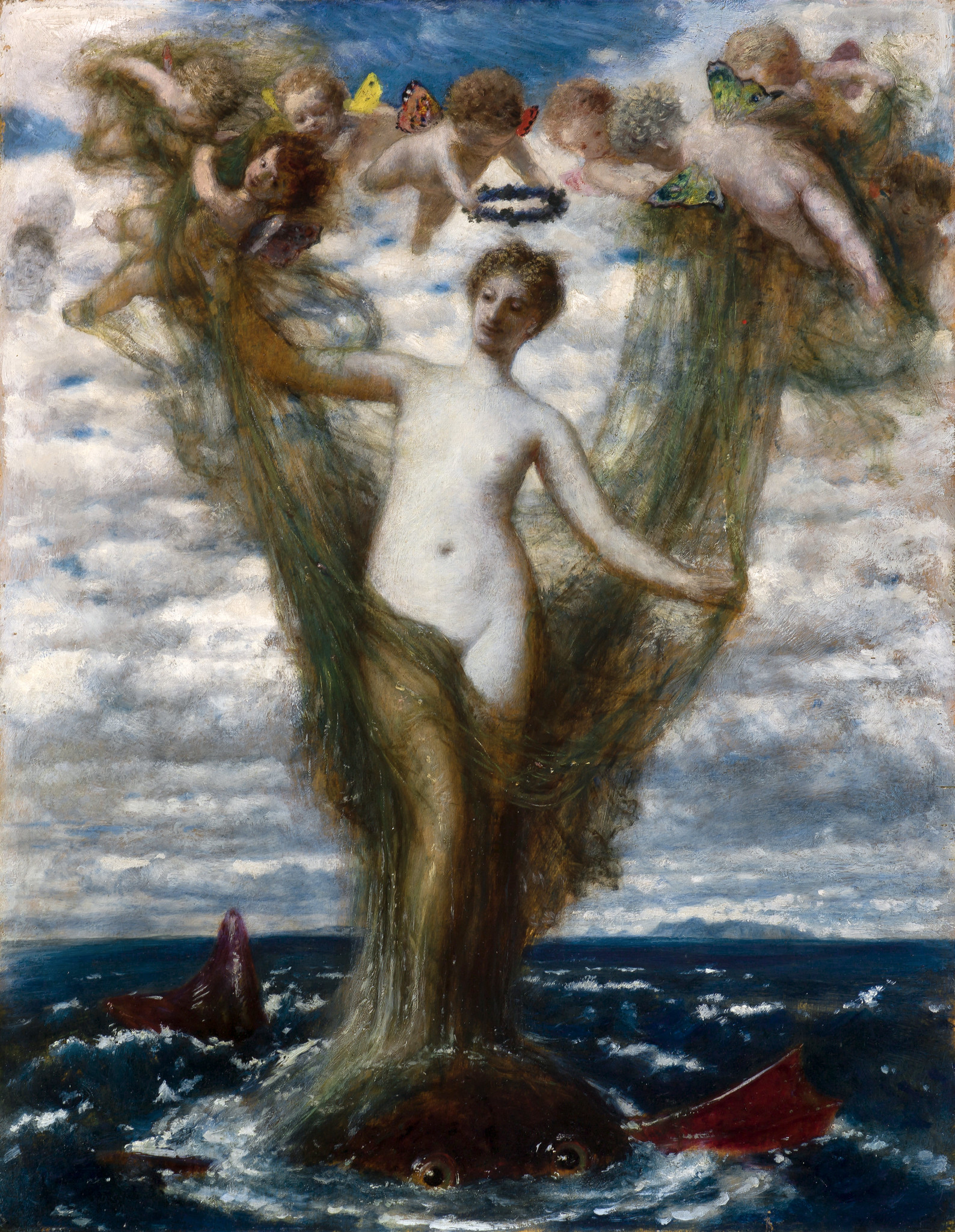 Painting Böcklin Venus emerging from the sea