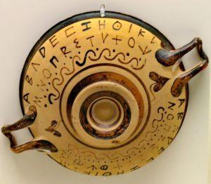 Greek alphabet on cup