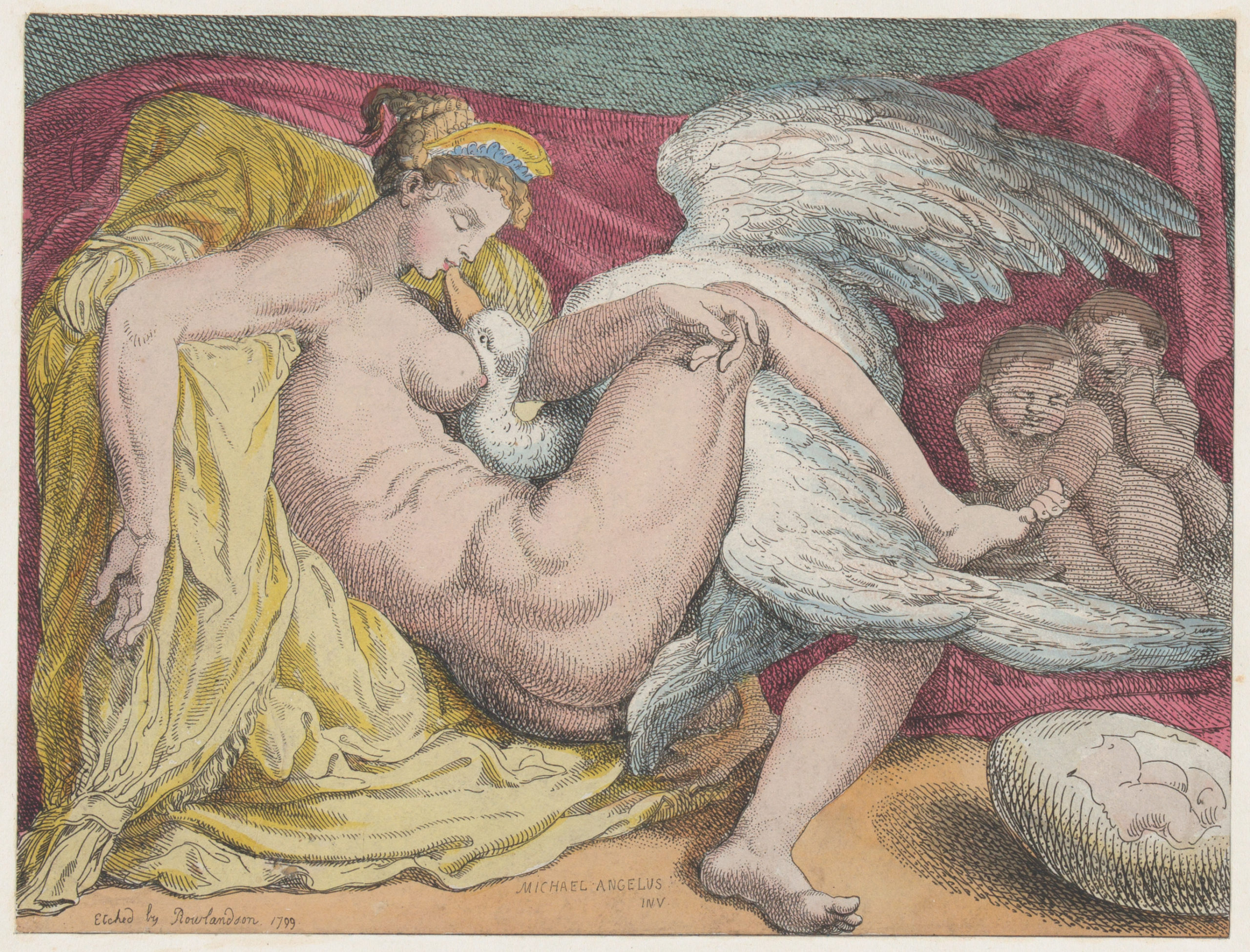 Leda and the Swan 1799 Thomas Rowlandson After Michelangelo Buonarroti