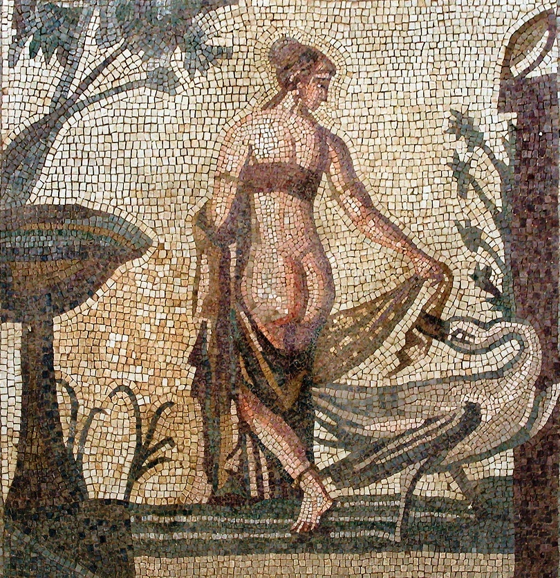 mosaic depicting Leada and the Swan from the Sanctuary of Aphrodite, Palea Paphos; now in the Cyprus Museum, Nicosia