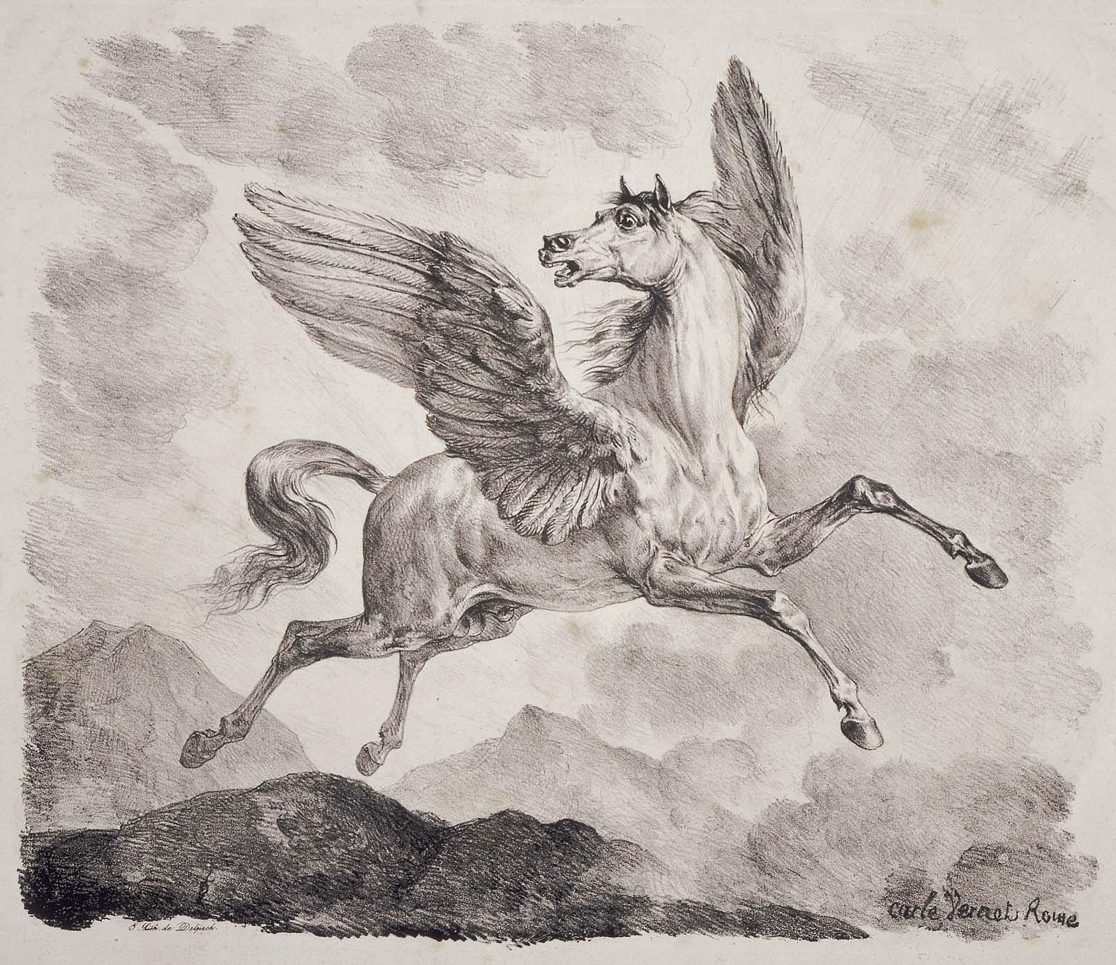Pegasus By Carle Vernet (French, 1758–1836), Printer François Séraphin Delpech (French, 1778–1825) 1820s Museum of Fine Arts Boston