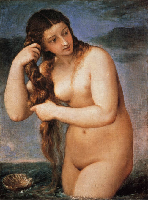 Painting Titian Venus emerging from the sea