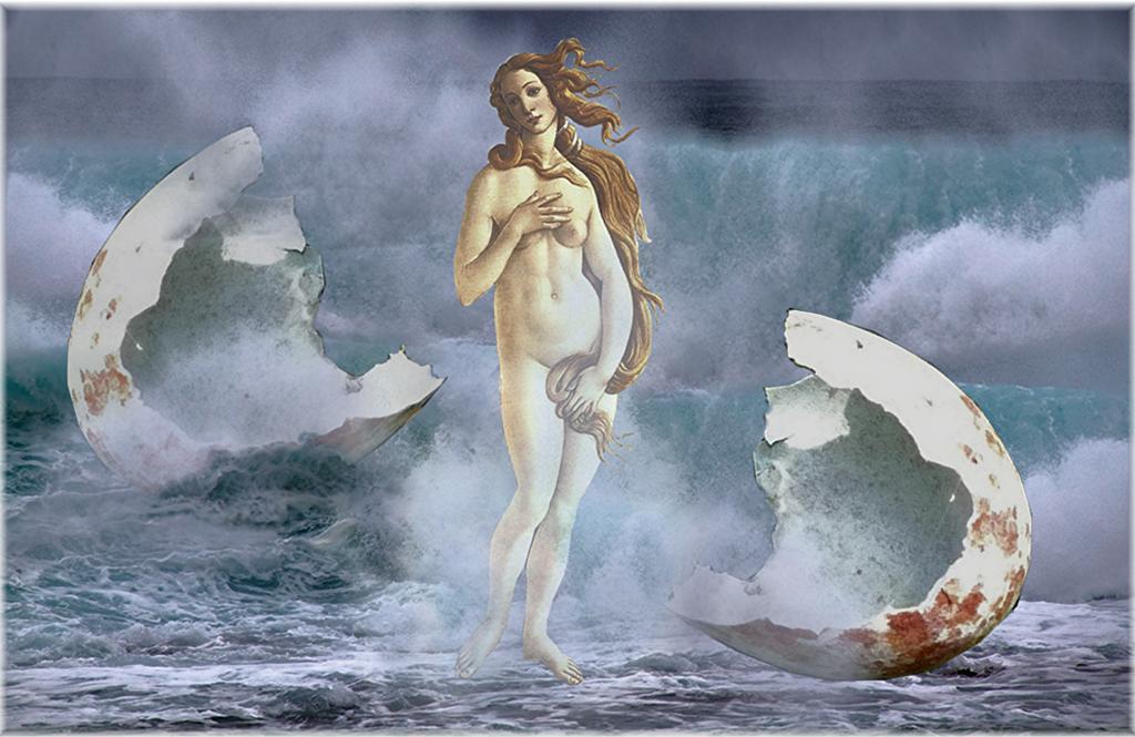 photographic collage: birth of Venus
