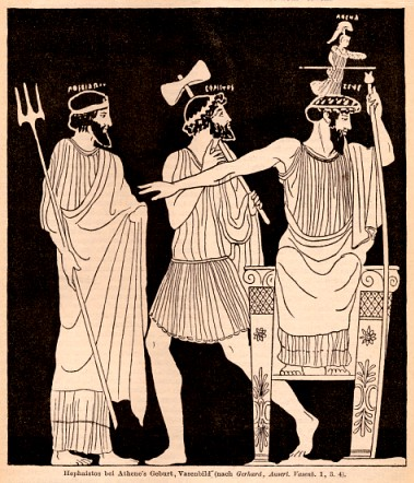 Birth of Athena from the head of Zeus, from a vase painting